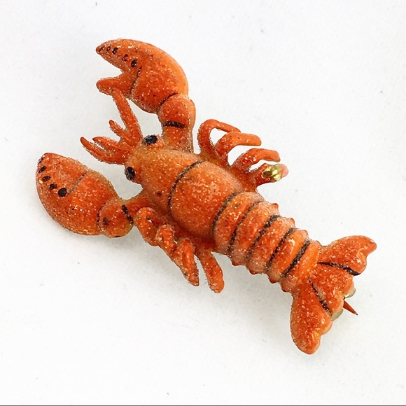 Vintage Jewelry - Vintage Red Rock Lobster Scatter Pin Korea